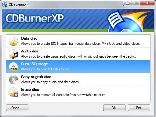 CDBurnerXP - Interface