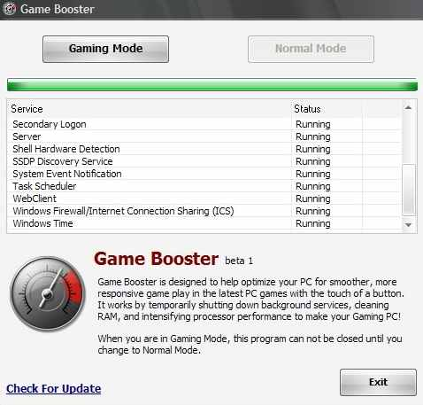 Game Booster Interface