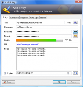 KeePass New Password Entry