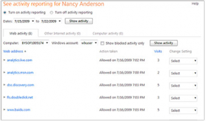 Activity Reports on Windows Live Family Safety