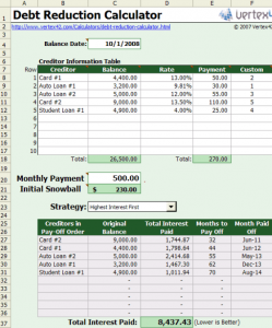 Free Excel based Debt Reduction Calculator to Payoff Credit Card Debt