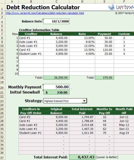 free excel based debt reduction calculator to payoff