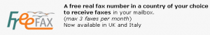 Free Incoming Fax Number UK Italy