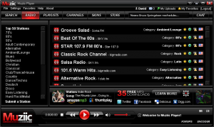 Internet Radio Stations on Muziic Media Player