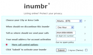 iNumbr Free Incoming Temporary Phone Number