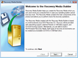 Build Recovery Media on USB or CD DVD
