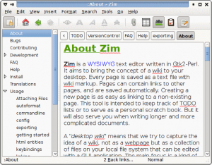 Download Zim Personal Wiki Software