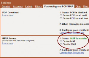 Enabling IMAP in Gmail