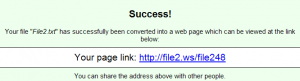 URL of converted webpage