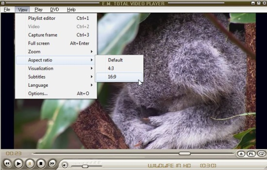 E.M. Total Video Player - Display Options