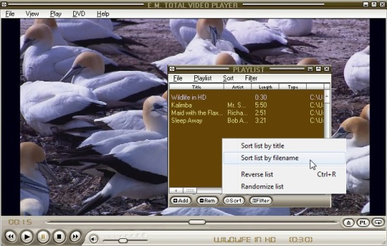 E.M. Total Video Player - Playlist Editor