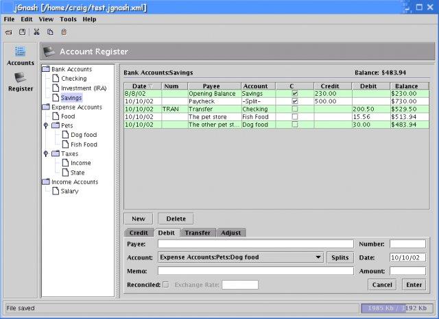Jgnash Free Open Source Personal Finance Software