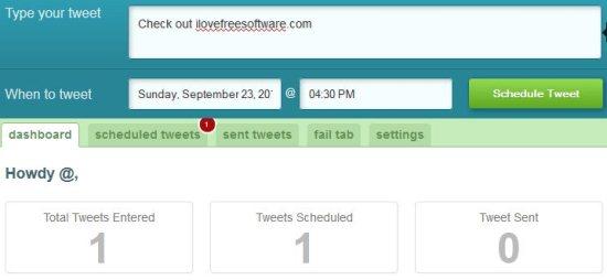 schedule tweets dashboard
