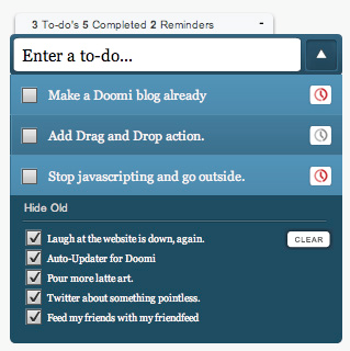 An example of a Doomi to-do list, showing some active items as well as the archive.