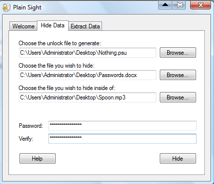 An example of how to encrypt a file using Plain Sight.