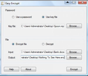 The screen for encrypting a file using a key file with Easy Encrypt.