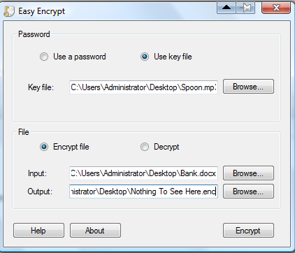 "The screen for encrypting a file using a ""key file"" with Easy Encrypt."