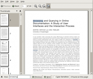 """The search function in Evince, showing the word """"browsing"""" highlighted."""