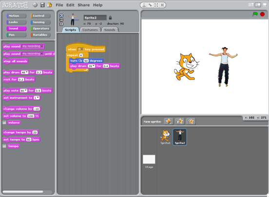 The main interface of Scratch showing several sprites and simple functions.