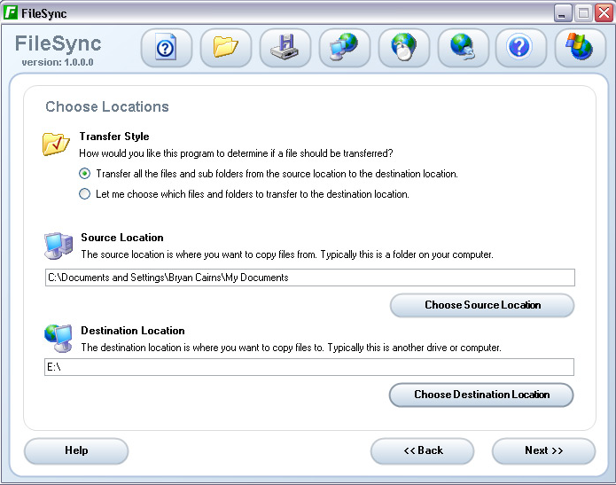 The backup interface for FileSync.