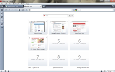 Opera's User Interface Showing The Speed Dial Function