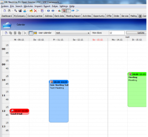 The awesome integrated calendar in EB1 Neutrino CRM.