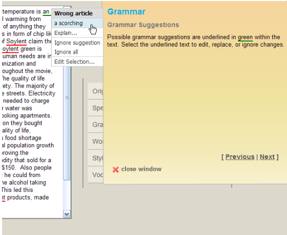 PaperRater's grammar correction tool.