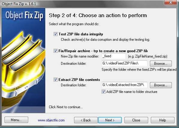 The operation selection screen of the Object Fix Zip wizard.