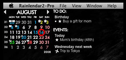 The basic layout of a calendar using Rainlendar.
