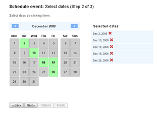 The simple calendar interface provided to select dates for your meeting using Doodle.