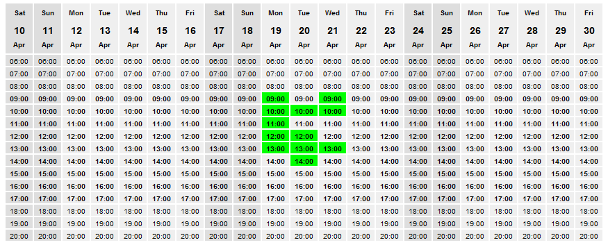 One of the simple calendars provided by WhenIsGood showing a few highlighted times.