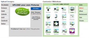 The interface for creating a slideshow using ImageLoop.