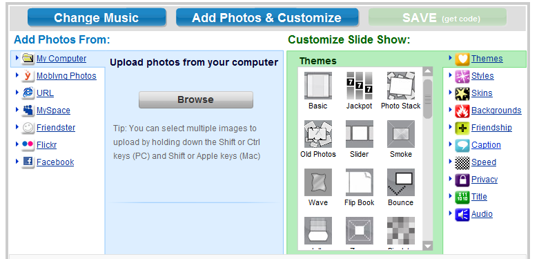The slideshow making system in Moblyng.