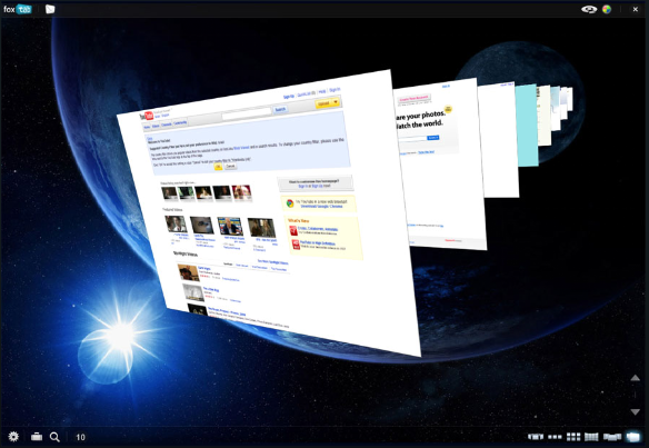 Foxtab's 3D interface, showing a custom background.