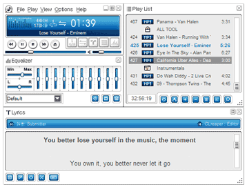 Lyrics shown in the ALSong media player.