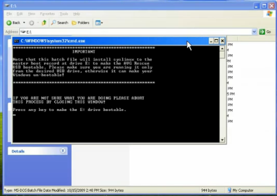 The command window to configue AVG Rescue CD.