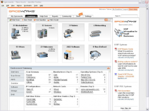 The interface of Spiceworks.