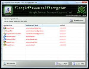 A list of Google Password Decryptor recoveries.