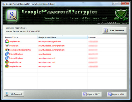 A list of Google Password Decryptor recoveries.