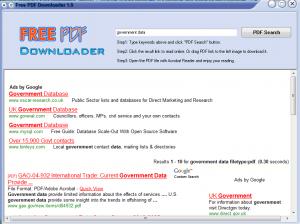 A search for PDF files using Free PDF Downloader.