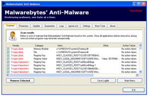 Scan results as shown in Malwarebytes Anti-Malware.