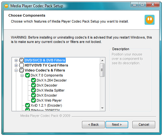 The installer for Media Player Codec Pack.