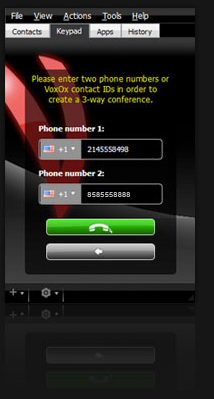 The conference call setup screen in VoxOx.
