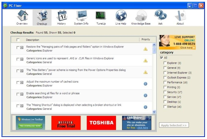 The interface of PC Fixer, the troubleshooting and problem solving tool.