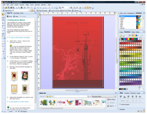 The user interface of Serif's PagePlus free desktop publishing software.