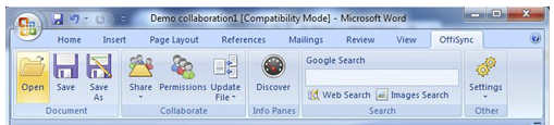 The extra tab OffiSync adds to the Microsoft Word 2007 interface.