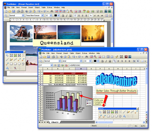 A screenshot showing both the word processor and the spreadsheet program incorporated within the Softmaker free office suite.