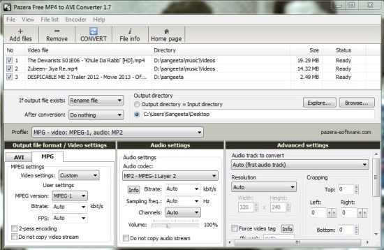 Pazera Free MP4 to AVI Converter - Advanced Settings