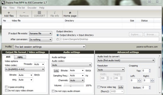 Pazera Free MP4 to AVI Converter - Interface
