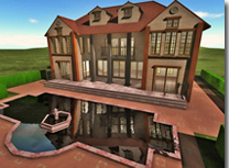 An outside view of a house as shown in 3D Home Design.